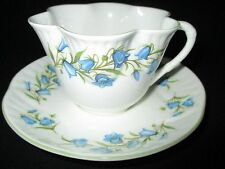 CROWN STAFFORDSHIRE BONE CHINA DAINTY TEA CUP & SAUCER SET BLUEBELL ENGLAND