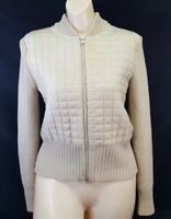 LUCITITY SWEATER JACKET (M) Beige Quilted Front Knitted/ Quilted Cardigan Zip up