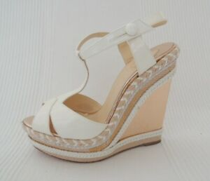 CHRISTIAN LOUBOUTIN Copper white patent leather wedge heels espadrilles 37 UK 4