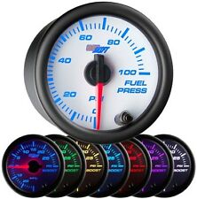 52mm GlowShift White 7 Color 100 PSI Fuel Pressure Gauge - GS-W711