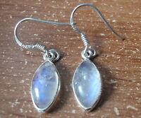 Blue Moonstone Marquise 925 Sterling Silver Dangle Earrings Corona Sun n37h