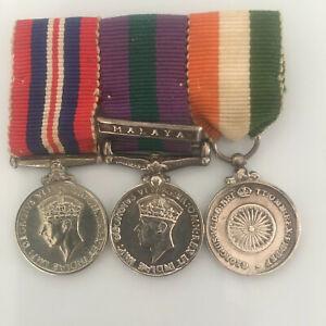 Period Miniature World War II, Malaya and Indian Independence Trio, bar mounted