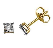 100% Genuine Solid 9ct 9k 375 Yellow Gold 0.10ct Diamond Stud Post Earrings