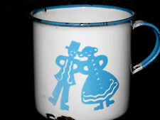 RARE Antique KOCKUMS Sweden Enamelware Cup Gingerbread Man Woman Hansel Gretel