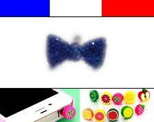 Cache anti-poussière jack universel iphone capuchon bouchon Noeud Bleu Foncé