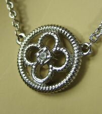 """Judith Ripka White Sapphire Sterling Silver 17"""" Necklace Pendant Women Lady Gift"""