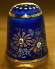 BEAUTIFUL BLUE & GOLD DECORATIVE THIMBLE