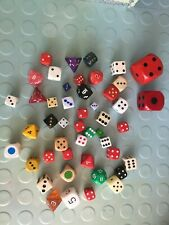 Dice - 47 wooden, plastic, various colours and sizes 4, 6, 8, 10 and 12 sided