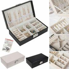 Portable Travel Jewelry Box Organizer Velvet Display Storage Case with Lock