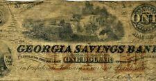 "$1 ""GEORGIA SAVINGS BANK"" (AUTOGRAPH'S) 1800'S $1 ""GEORGIA SAVINGS"" RARE NOTE!!!"