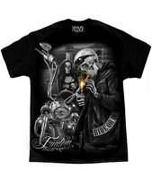 DGA David Gonzales Art Ride Or Die Freedom Skeleton Goth Tattoo Mens Shirt M-5XL