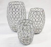 Teelichthalter, Kerzenhalter  3er Set. Glas Metall