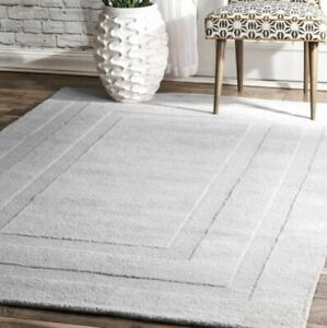 Double Border Solid Gray Loop & Cut Hand-Tufted 100% Wool Soft Area Rug Carpet.