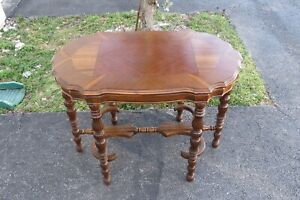 Early 1900s Carved Inlay Top Side End Table 1949