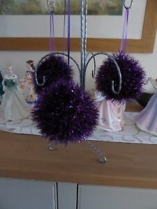 Hand knitted Christmas tinsel bauble Purple