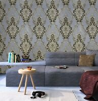Wallpaper roll textured Victorian vintage damask gray black gold bronze metallic
