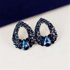Nuevo Mujer De Lujo Cristal Azul Pendientes De Fiesta De Aleación Stud joyas Bolsa De Regalo