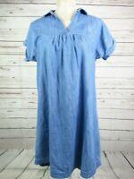 Fat Face Denim Tunic Dress Light Blue V Neck Short Sleeve Size 10