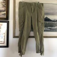 Lauren Ralph Lauren Sz 10P Olive Green Cropped Cargo Pants A1499