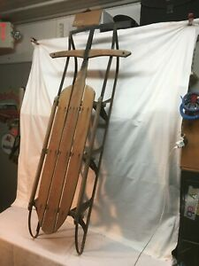 Vintage  Lightning Guider Snow Sled 53in Mid Century Duncannon Pa Sled Works