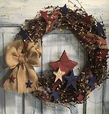 "18""Primitive Country Americana Grapevine Wreath W/homespun & Pip Berries W/stars"