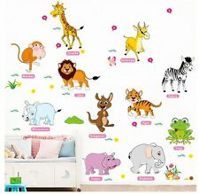 Wall Stickers animal zoo elephant monkey Removable  Decal Kid Nursery Baby Decor