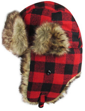 Buffalo Plaid Trapper Hat Red Bomber Winter Accessory Faux Fur, Flannel