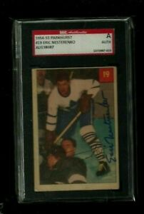 Eric Nesterenko 1954-55 Parkhurst Auto SGC Authentic! Maple Leafs & Blackhawks!