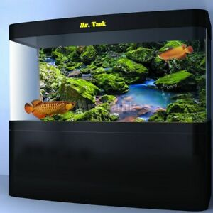 Green Moss Stone Rivulet Backdrops Aquarium Background Poster With Self-Adhesive