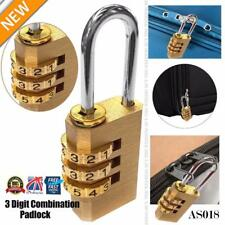 HEAVY DUTY 3 Digit Combination Brass Padlock Travel Luggage Locker Safety AS018