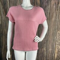 St. John Top Large Women's Pink Knit Short Sleeve Ribbed Casual Wool Blend