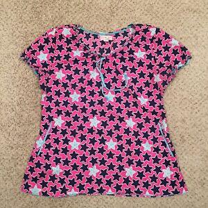 Koi Womens Large Pink Star Pattern Scrub Top