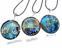 necklet Orgone Orgonite pendant 12 signs Zodiac, stones and crystals.Protection,
