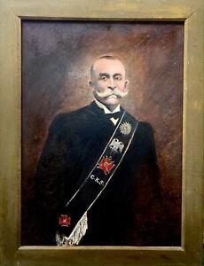 RARE GRAND TABLEAU HST - FRANC-MAÇONNERIE - CHEVALIER KADOSH - 1905
