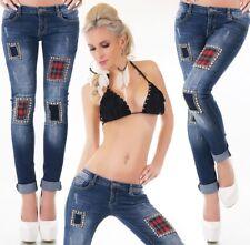 Damen Röhren Stretch Skinny Jeans Aufnäher Strass Glamour 34 36 38 40 42 blau