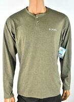 Columbia Mens Henley T-Shirt New M Omni wick Long Sleeves Crew Neck Casual