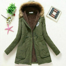 Women Winter Warm Outwear Hooded Coat Windproof Faux Fur Parka Jacket Trench