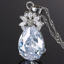 Xmas Lady Fashion Jewelry Pear Cut White Fine Clear Topaz Pendant Necklace Chain