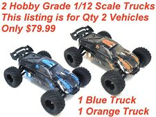 Qty 2 Trucks - 1/12 Scale Electric Hobby Grade RC Trucks New Liquidation!