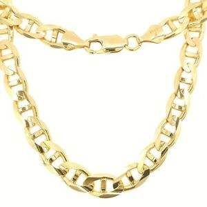 14K Solid Gold Italy Men Women Gucci Concave Mariner Chain Necklace 2.5-8mm