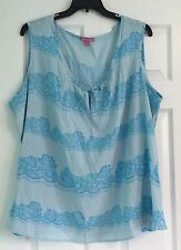 Woman Within's Plus Size 3X Blouse Sleeveless Blue Summer Floral Cotton Top NWOT