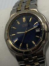 Citizen 2510 Men's Stainless Steel Watch Blue Dial Date Gold Tone Bezel WR- 50M