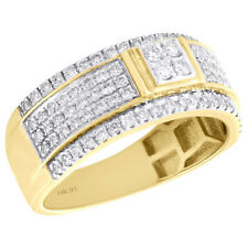 14K Yellow Gold Round Diamond Mens Wedding Band Tiered Quad Center Ring 1 CT.