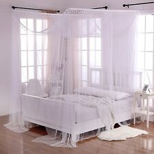 4 Post White Romantic King Queen Size Bed Canopy Mosquito Net Bedroom Decoration