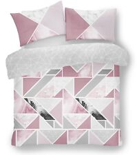 Mila Triangles Marble Stripes Blush Pink Double Duvet Cover Quilt Bedding Set