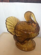 Vintage Amber L. E. Smith Deppresion Glass Turkey Lidded Candy Dish - 1940s