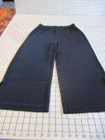 "CHICO'S TRAVELERS Sz 1 Navy Blue 21.5"" Inseam Wider Leg Side-Slit Crop Pants"