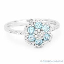 Right-Hand Flower Ring in 14k White Gold 0.63 ct Round Cut Blue Topaz & Diamond