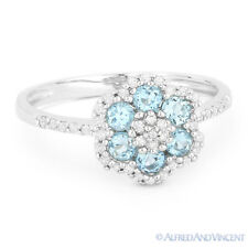 0.63 ct Round Cut Blue Topaz & Diamond Right-Hand Flower Ring in 14k White Gold