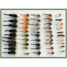 Gold Head Nymph & Buzzer Trout Fishing Flies, 50 in Pack, Mixed Size 10/12 SF5H